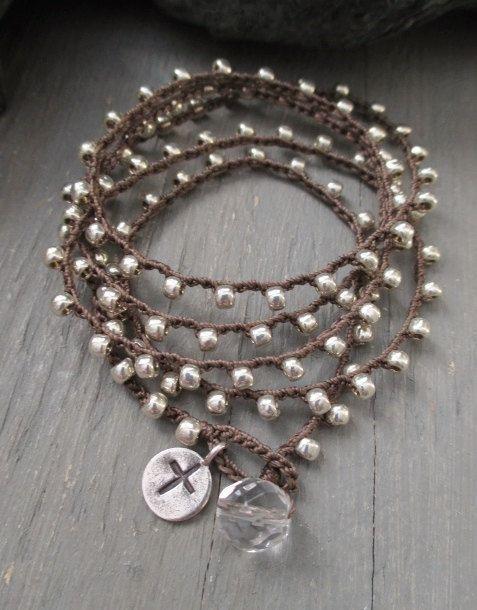 Silver cross crochet wrap bracelet necklace The by slashKnots