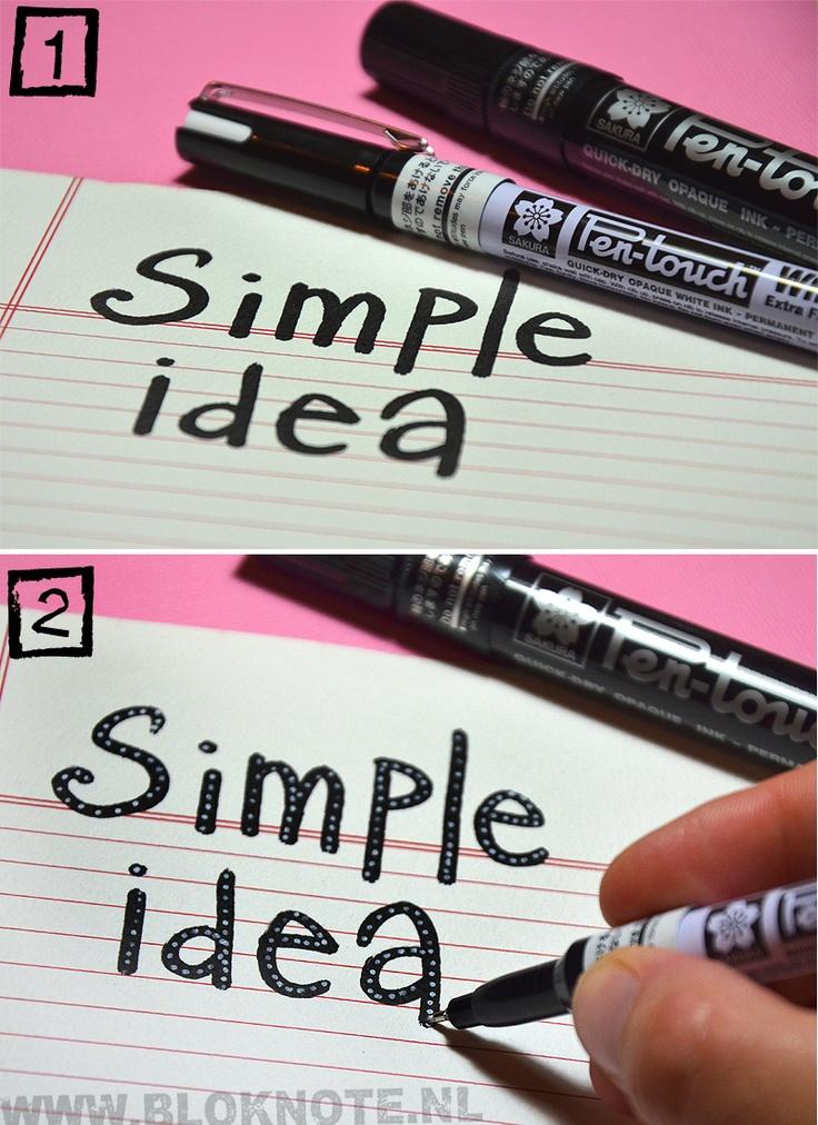 Simple Idea | Pen-touch | Sakura | Handwriting | Dots | How-to | Bloknote.nl | Blognotes by Marieke Blokland
