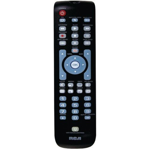6 Pack 3-DEVICE UNIVERSAL REMOTE WITH GREEN BACKLIGHTING (Catalog Category: REMOTE CONTROLS / UNIVERSAL REMOTES) by RCA. $50.61. 6 Pack 3-DEVICE UNIVERSAL REMOTE WITH GREEN BACKLIGHTING (Catalog Category: REMOTE CONTROLS / UNIVERSAL REMOTES)PARTIALLY BACKLIT KEYPAD; CONTROLS TV, SATELLITE, CABLE, DTC, DVD & VCR; ERGONOMIC, THIN DESIGN; AUTO CODE SEARCH; BRAND/MANUAL CODE SEARCHES & DIRECT CODE ENTRY; MENU SUPPORT; GUIDE SUPPORT; VOLUME & TRANSPORT KEY PUNCH-THROUGH; CHANNEL...