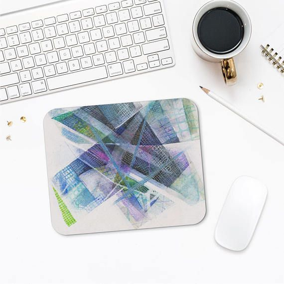 Blue Art Mousepad Original Design Gift For Geeks Abstract
