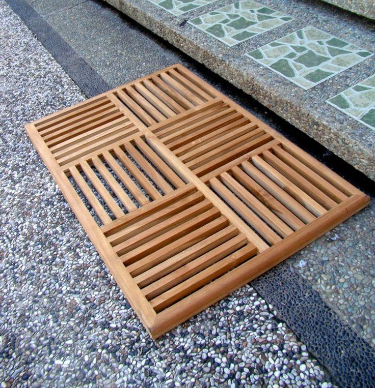 Grade A Teak Wood Basket Weave Floor Bath Spa Shower Door Mat Outdoor Garden New Gardens Teak