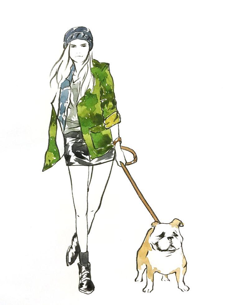 Cara & Dog illustration by Sookie Shen