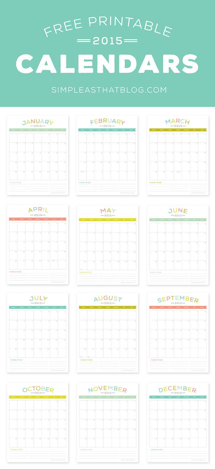 Free printable 2015 Calendars | Simple as That Blog