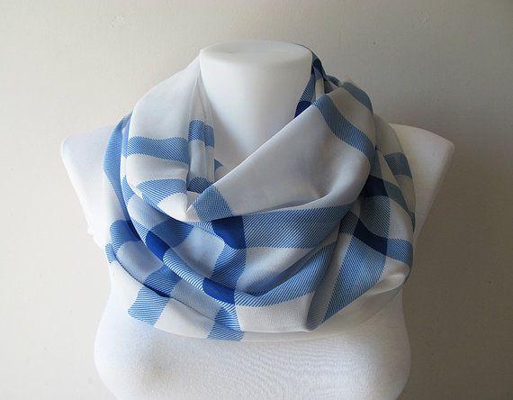 Blue White Plaid Pattern Chiffon Infinity Scarf Women Scarf