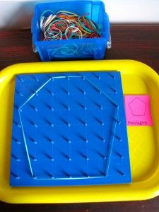 Geoboards and free printable geometric shape cards - great center idea!