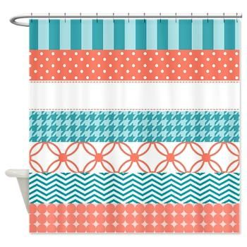 A Girly Coral And Teal Washi Tape Design Shower Curtain With Cute Patterns  Including Chevron Stripes