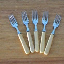 Vintage  5 x forks EPNS A1 faux bone celluloid