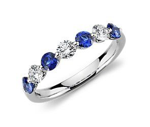 Classic Floating Sapphire and Diamond Ring in Platinum #BlueNile