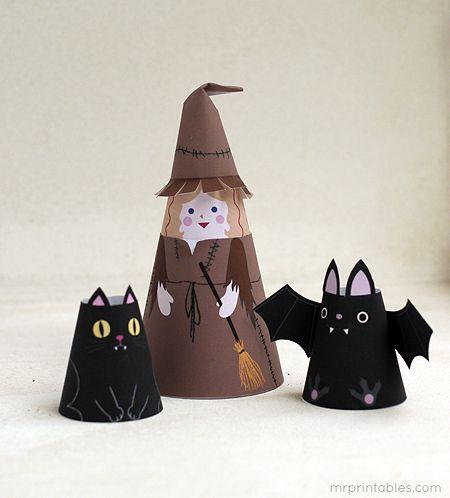 Printable Paper Dolls | Halloween Cone Girls - Mr Printables