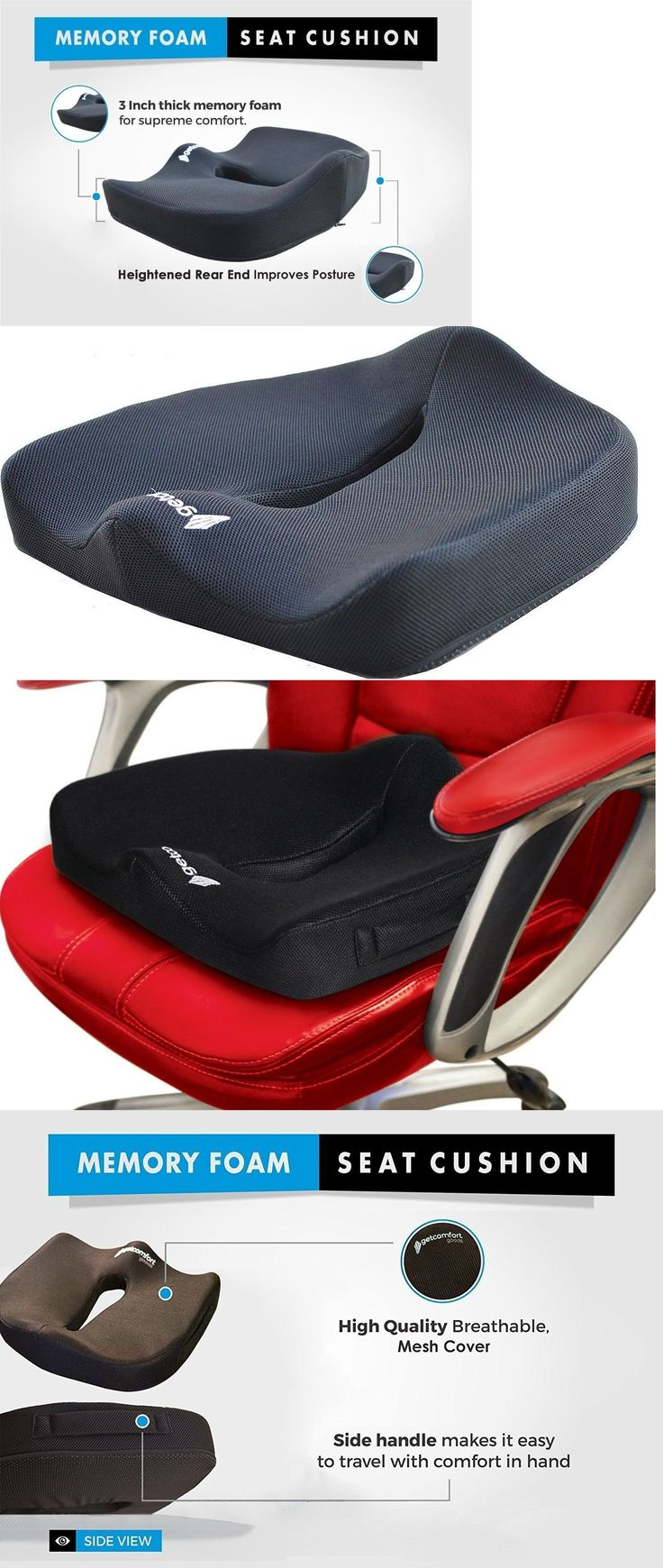 Seat And Posture Cushions Office Chair Cushion Memory Foam Coccyx Orthopedic Car Pain Relief
