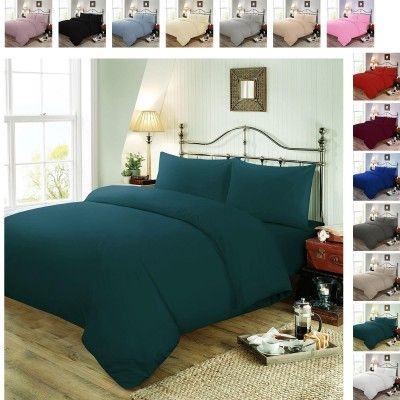 Plain Dyed Polycotton Duvet Cover with Pillow Case Set - Teal