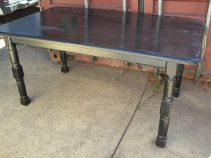 $50 VINTAGE BLACK SOLID TIMBER DINING TABLE 150x90x74cm Text 0411691171 or email info@bitspencer.com