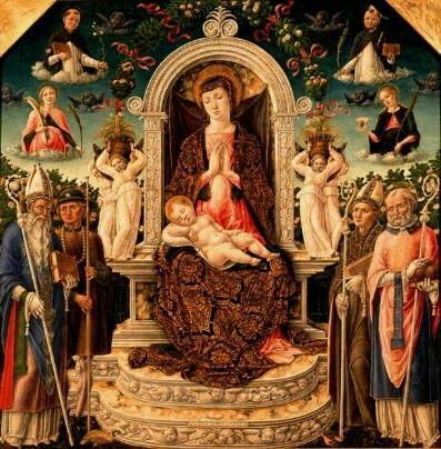 Madonna con Bambino e santi Agostino Rocco Ludovico da Tolosa Nicola in alto Domenico e Caterina d'Alessandria Pietro e santa martire. Dal convento degli osservanti di Bari. 1465