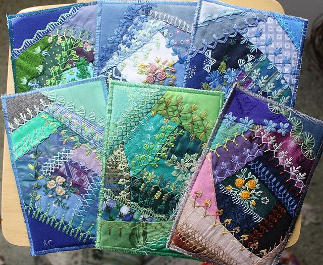 I ❤ crazy quilting & embroidery . . .  I am addicted to these - there are many more.~By Ritva Peltola