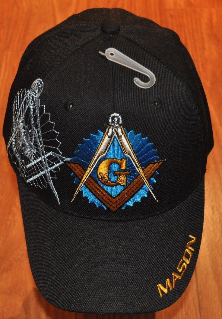 Embroidered Black Blue White Mason Masonic Lodge Cap Hat Freemasonry
