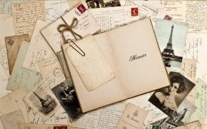 Jahrgang, Retro, Notizbuch, Fotos, Sepia, Marke