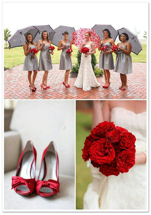 Red and grey wedding theme