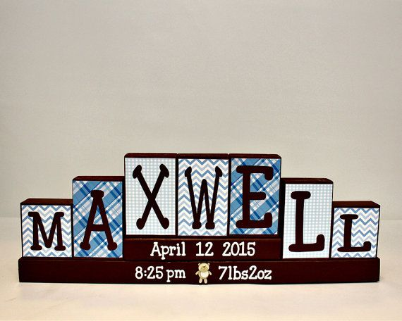 Baby Name Letters Decorative Block - Unique Baby Gift - Child Room Decor - Personalized Birth Announcement Block - 7 Letters First Name Sign