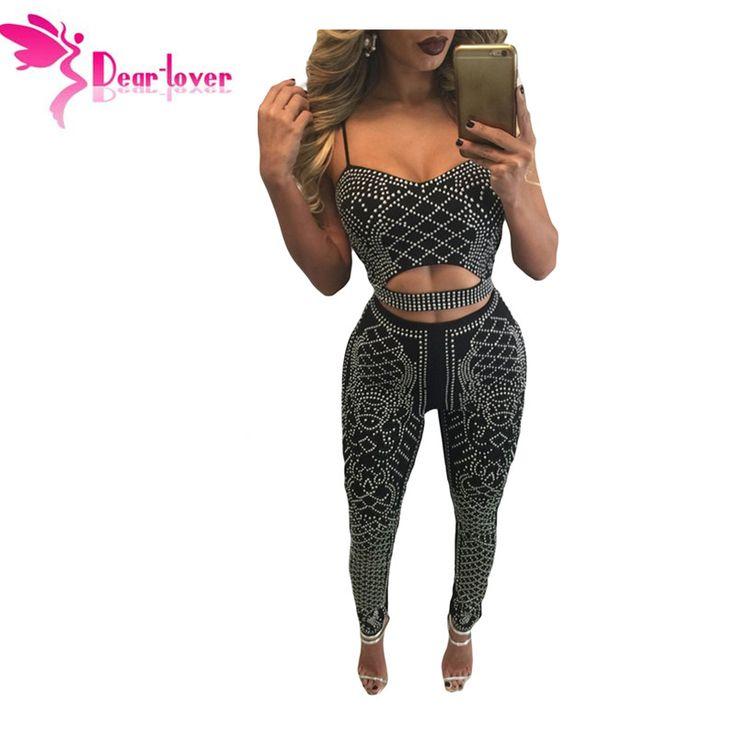 Dear-Lover Sexy Rompers Bodysuit Spaghetti Straps Diamond Front Womens Jumpsuit Bodycon Clubwear Autumn Mono Mujer Longo LC64145