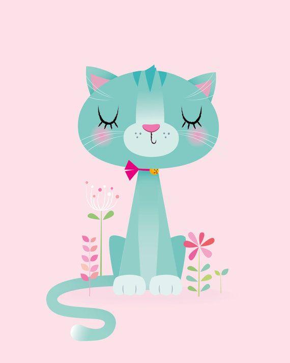Imprimir infantiles gato  chica vivero por IreneGoughPrints en Etsy