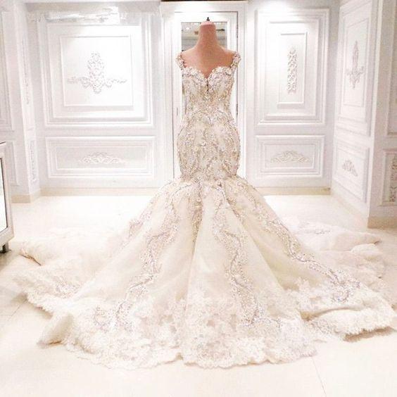 Lace Sweetheart wedding dresses 2016 Robe De Mariage Royal Train Romantic Sexy Mermaid Wedding Dress Vestido Novia Wedding dress