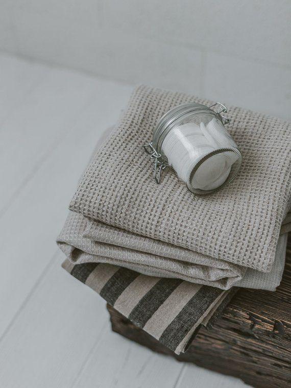 Washed Waffle Bath Towel Soft Towel Natural Waffle Linen Bath