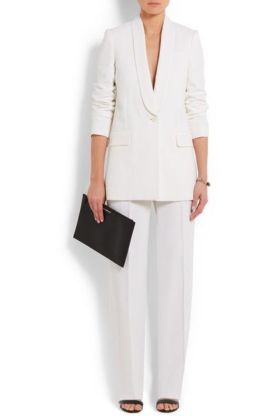 Givenchy - Wide-leg Tuxedo Pants In White Satin-crepe - FR36