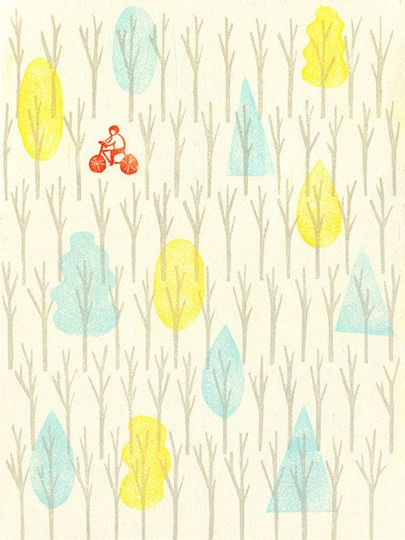 bike print - wow to these colors - love minty blue