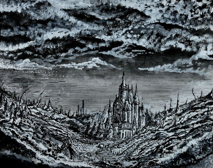 'Castle in Valley' Oil and Ink on Canvas by Eli Evangelidis