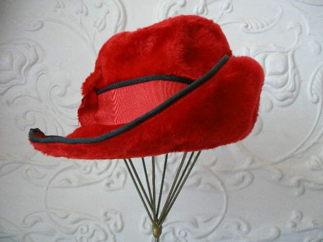You can leave your hat on – Red long haired fedora. Stunning! www.vintagehatsandaccessories.com