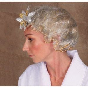 Kingsley Shower Cap - White with Flower by Kingsley. $7.59