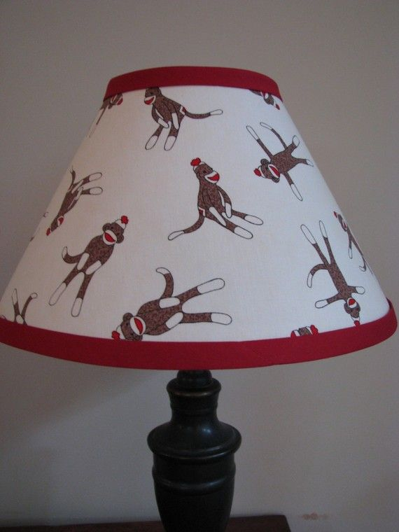 Hey, I found this really awesome Etsy listing at https://www.etsy.com/listing/55290432/sock-monkey-lamp-shade-bedroom-nursery