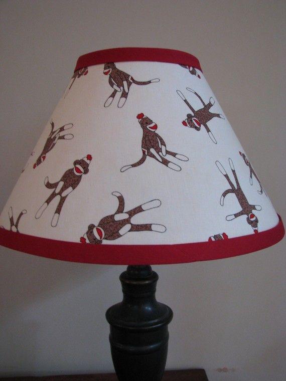 Sock Monkey lamp Shade Bedroom Nursery by Zacharydickorydock, $26.00