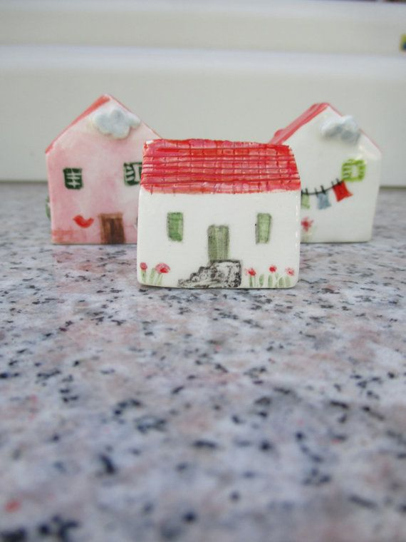 Little Ceramic House,Little Clay House,Cute Small House,White House,Tiny House,Miniature House,Terrarium House,Small details,Red Roof