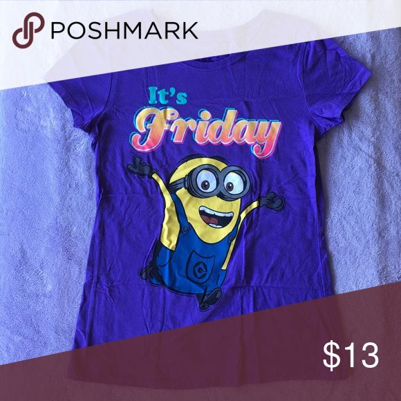 minion t-shirt cute violet minion shirt. excellent condition/never used. Tops Tees - Short Sleeve
