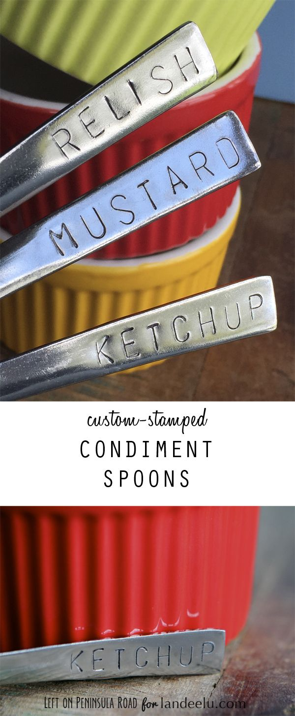 DIY Perfect for BBQs, Potlucks and Dessert and Food Stations!  EASY tutorial - Custom-Stamped Condiment Spoons paired with colorful ramekins
