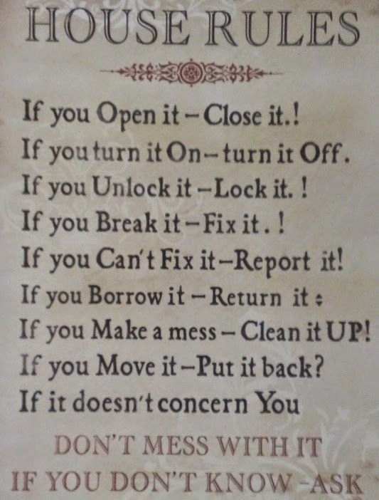 Binnenkant : Huisregels....