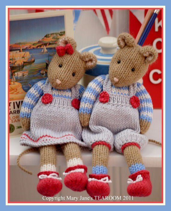 MJT Little Gems 2 'CORNISH Mice' Pdf /email Toy Knitting Pattern.