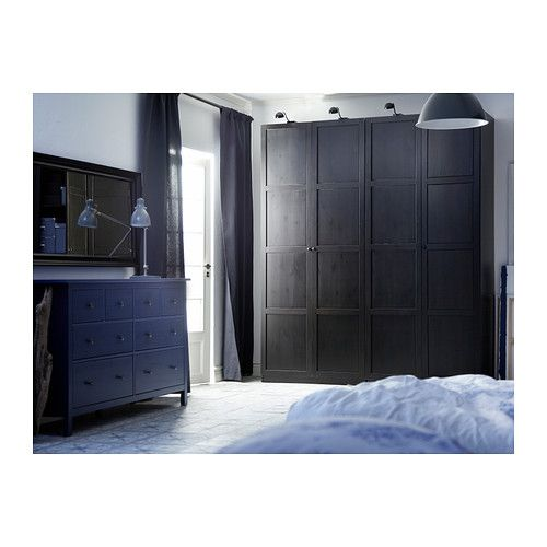 "HEMNES Door - standard hinges, 19 5/8x90 1/8 "" - IKEA   just for looks...add molding to sliding doors.... single doors for bed flanked lights  -03.26.2016"