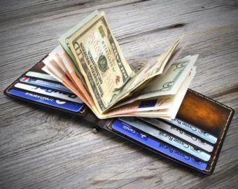 Geld-Clip Leder Geldbörse für Männer. Money Clip