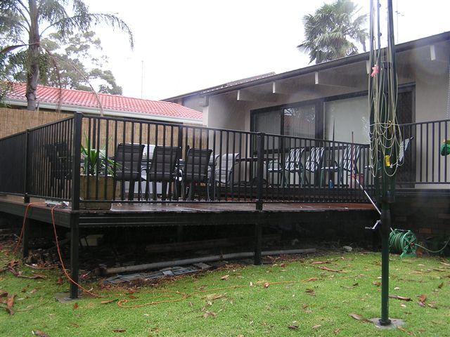Completed deck from rear of yard.