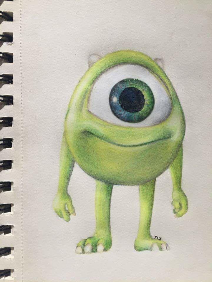 Mike Wazowski - Monsters Inc. ~ Elise Linnea *Disney character cartoon drawing*
