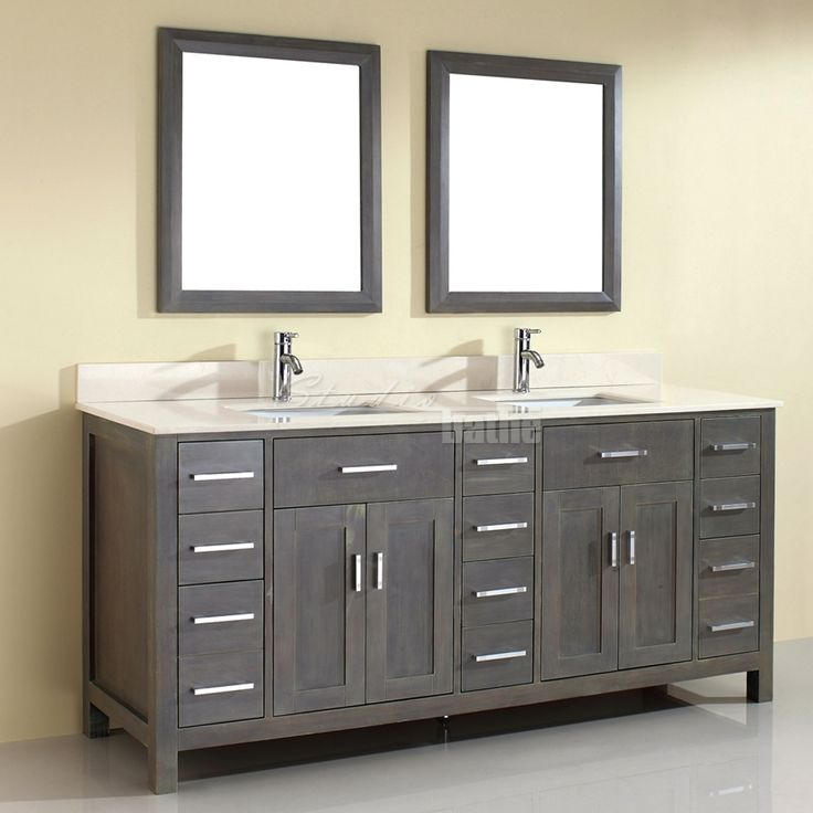 art kalize 75 french gray finish double sink bathroom vanity - Bathroom Vanity Double