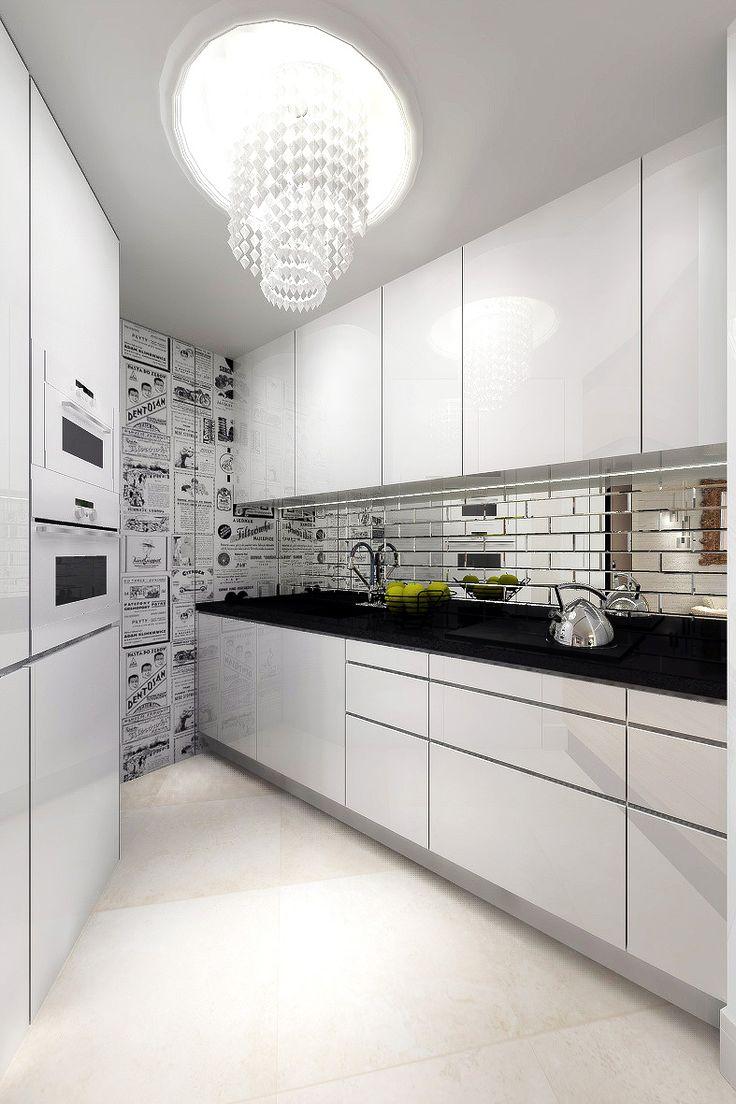 Nowoczesny projekt wnętrz mieszkania w odcieniach bieli - Tissu. Aranżacja nowoczesnej kuchni w mieszkaniu, z czarno - białą tapetą i kryształowa lampą. http://www.tissu.com.pl/zdjecia/387,z-nuta-romantyzmu-apartament-piastow-80m2
