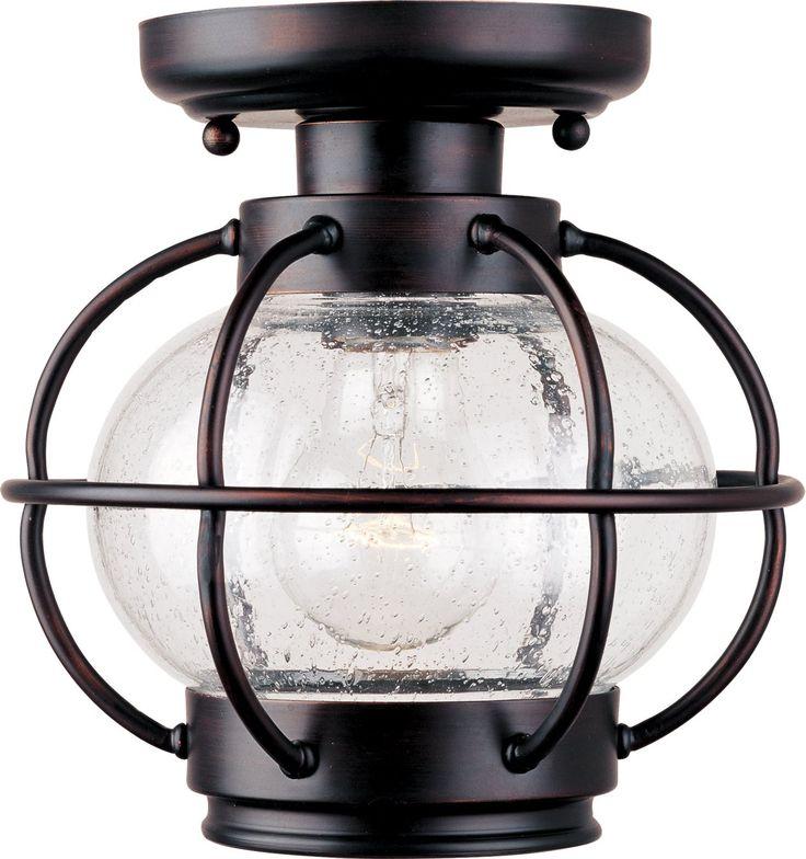 Maxim Lighting 30508CDOI Portsmouth Traditional Outdoor Flush Mount Ceiling Light MX-30508-CD-OI