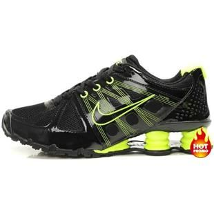 black and agent green nike shox