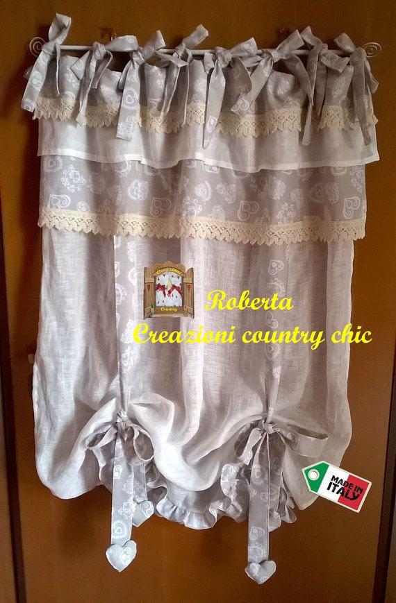 Tenda a vetro shabby-chic, tenda country in lino con mantovana, provenzale, rustica, tirolese, con lacci
