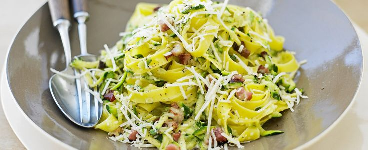 Dressed in a light and creamy carbonara sauce, this quick-to-make pasta is perfect on a warm summer evening. It quickly dispenses with any garden gluts too.