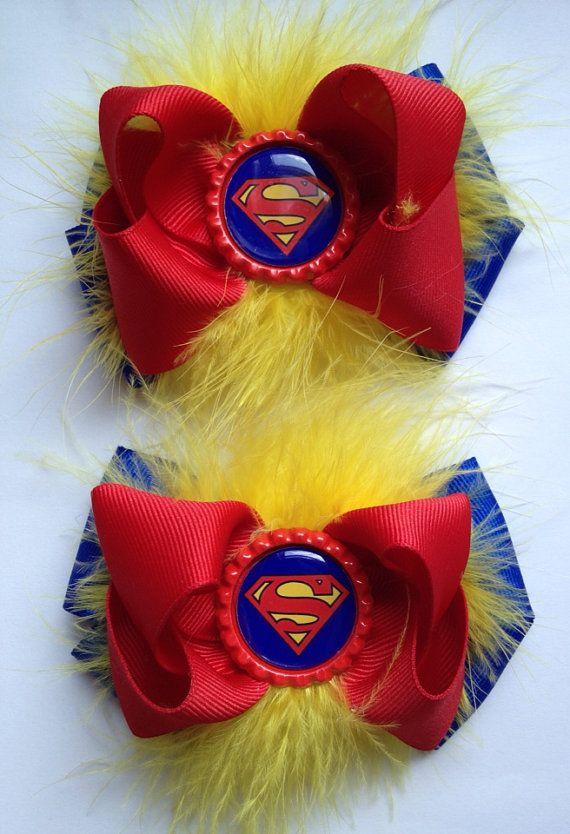 Superman hair bow set by NoanyDreamsBow on Etsy, $8.50