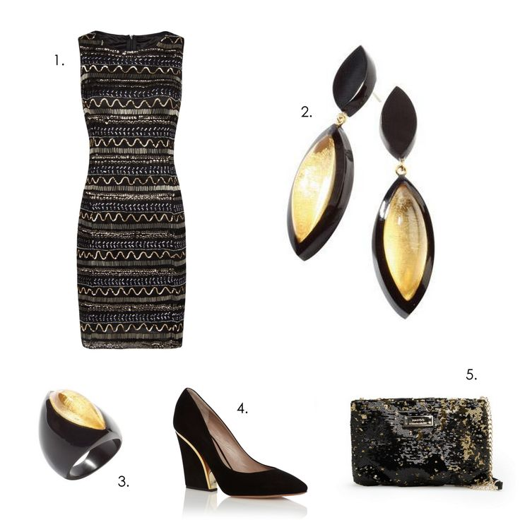 Glamorous Holidays party outfit! 1.Dress: Mango 2.Earrings: Zsiska ra 3. Ring: Zsiska Ra 4.Pumps: Cloé 5.Clutch: Mango